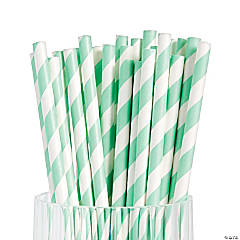 Mint Green Striped Paper Straws