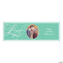 Mint Green Wedding Small Custom Photo Banner