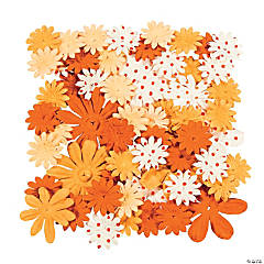 60 Monochromatic Orange Paper Flowers