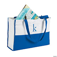 Monogrammed Blue Canvas Tote