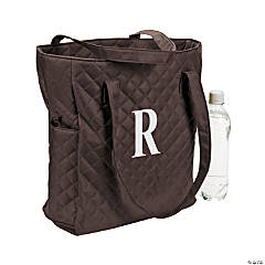 Monogrammed Brown Quilted Tote