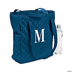 Monogrammed Navy Blue Quilted Tote