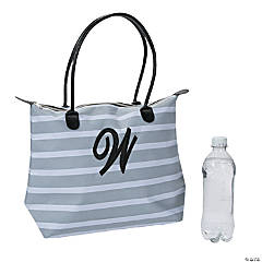 Monogrammed Striped Tote Bag with Black Embroidery
