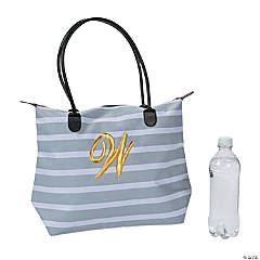 Monogrammed Striped Tote Bag with Gold Embroidery