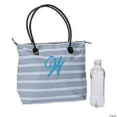 Monogrammed Striped Tote Bag with Light Blue Embroidery