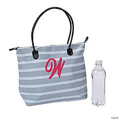 Monogrammed Striped Tote Bag with Pink Embroidery