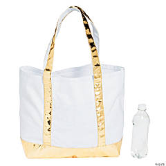 Monogrammed White with Gold Tote Bag