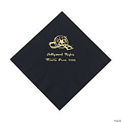 Movie Night Black Personalized Luncheon Napkins with Gold Print