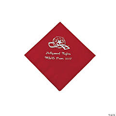 Movie Night Red Personalized Beverage Napkins with Silver Print