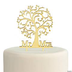 Mr. & Mrs. Family Tree Wooden Cake Topper