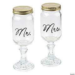 Mr. & Mrs. Glass Mason Jar Goblets