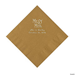"""Mr. & Mrs."" Personalized Gold Luncheon Napkins"