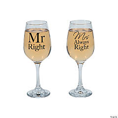 Mr. Right & Mrs. Always Right Wine Glasses