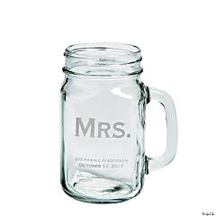 Mrs. Mason Jar Personalized Glass Mug