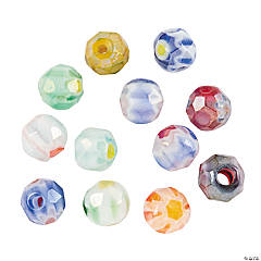 Multi-Colored Millefiori Faceted Beads