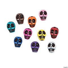Multicolor Skull Beads - 10mm