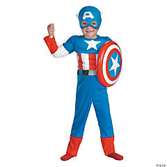Muscle Captain America Costume for Boys
