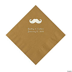 Mustache Personalized Gold Luncheon Napkins