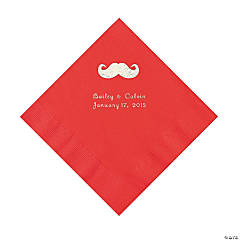 Mustache Personalized Red Luncheon Napkins