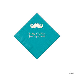Mustache Personalized Turquoise Beverage Napkins