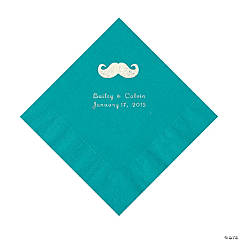 Mustache Personalized Turquoise Luncheon Napkins