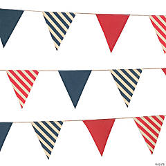 Nautical decor party supplies oriental trading nautical fabric pennant banner pronofoot35fo Choice Image