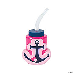Nautical Girl Cups with Straws