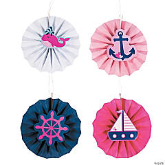 Nautical Girl Hanging Fans with Icons