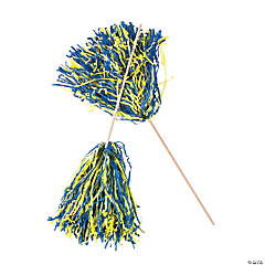 Navy & Gold Two-Tone Spirit Pom-Poms