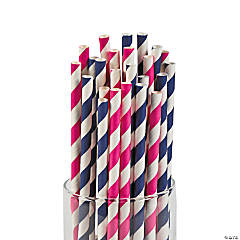 Navy & Hot Pink Paper Straws