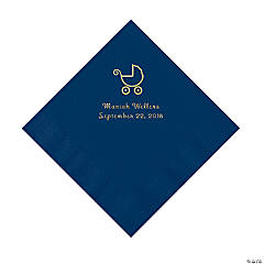 Navy Baby Carriage Personalized Napkins with Gold Foil - Luncheon