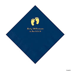 Navy Baby Feet Personalized Napkins with Gold Foil - Luncheon
