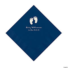 Navy Baby Feet Personalized Napkins with Silver Foil - Luncheon