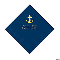 Navy Blue Anchor Personalized Napkins with Gold Foil - Luncheon