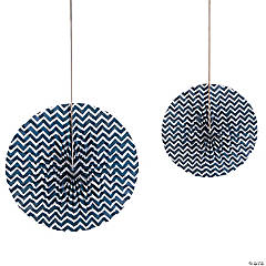 Navy Blue Chevron Hanging Fans