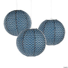 Navy Blue Chevron Hanging Paper Lanterns