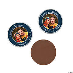 Navy Blue Custom Photo Chocolate Coins