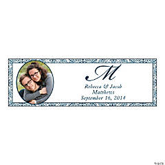 Navy Blue Flourish Small Custom Photo Banner