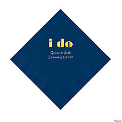 Navy Blue I Do Personalized Napkins with Gold Foil - Luncheon