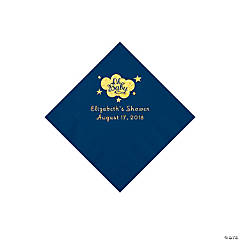 Navy Blue Oh Baby Personalized Napkins with Gold Foil - Beverage