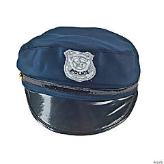 Navy Blue Police Hat with Silver Badge