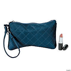 Navy Blue Quilted Wristlet Purse