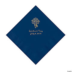 Navy Bouquet Personalized Napkins with Gold Foil - Luncheon