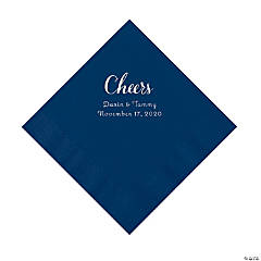 Navy Cheers Personalized Napkins with Silver Foil - Luncheon