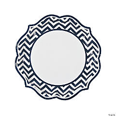 Navy Chevron Scalloped Dinner Plates