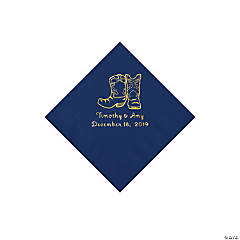 Navy Cowboy Boots Personalized Napkins with Gold Foil - Beverage