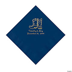 Navy Cowboy Boots Personalized Napkins with Gold Foil - Luncheon