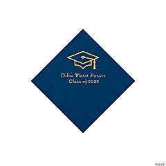 Navy Grad Mortarboard Personalized Napkins with Gold Foil – Beverage