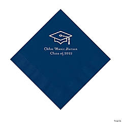 Navy Grad Mortarboard Personalized Napkins with Silver Foil – Luncheon