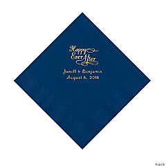 Navy Happy Ever After Personalized Napkins with Gold Foil - Luncheon